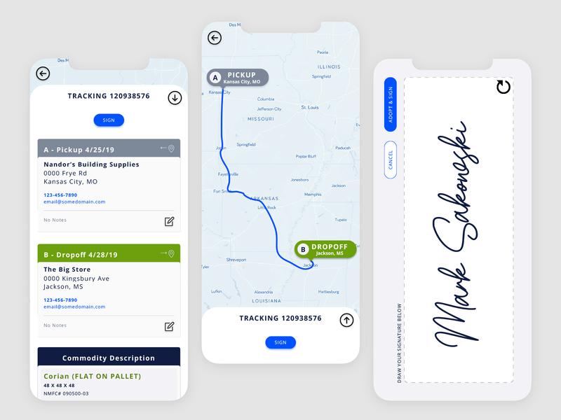 Shipping Proof Of Concept sketchapp ios design logistics blue app visual design app mobile ui ux