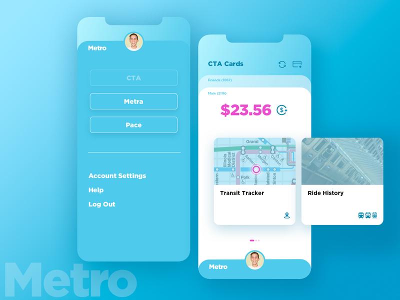 Metro Transit App ios user experience user interface branding concept card design blue app design app iphone ui mapbox transit map transit