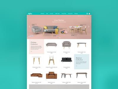 Hipvan lifestyle furniture wireframe design web webdesign code ui ux