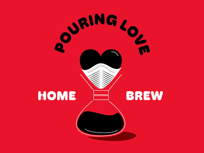 Home Brew design pour over coffee heart hoss grotes font type pour love stay home home brew