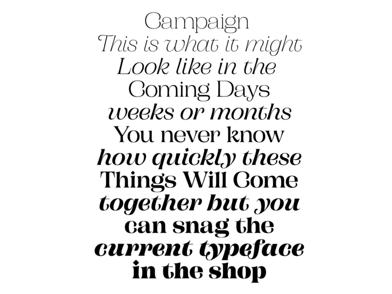 Campaign Serif - Weights prerelease pstype pstypelab typeface custom design font type typography