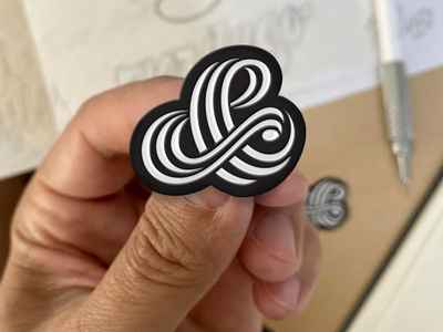 Tri-Line Ampersand Pin lettering pencil pushers design custom typography merch triline ampersand goods pin