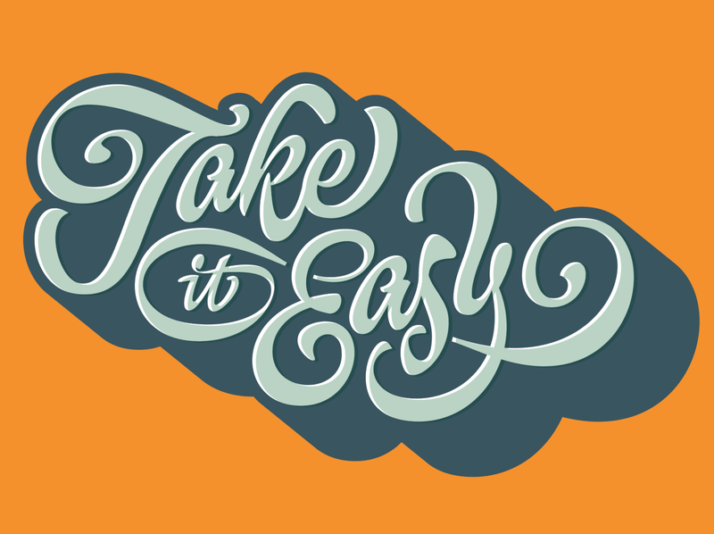Take it Easy custom illustration script design pencil pushers easy golf cart take it easy lettering