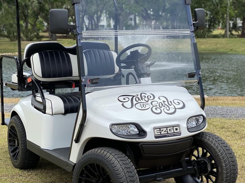Cart Life script custom vinyl lettering type golfcart cart take it easy