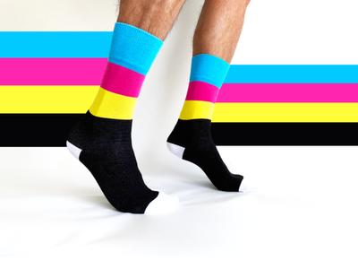 Footnotes: Trust the Process custom limited edition goods merch design knit footnotes cmyk color socks