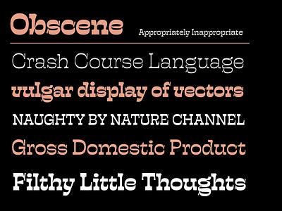 Obscene PreRelease fonts typography horizontal stress design prerelease font obscene