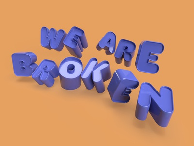 OK or Broken dimension hoss font type lettering 3d broken