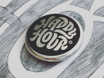 Happy Hour product one inch design buttons lettering happy hour