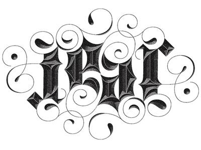 Fear Ambigram feardrops lettering flourish flip ambigram fear