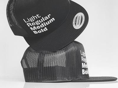 Light thru Bold in Black black and white specimen fonts snapback headwear hat cap black