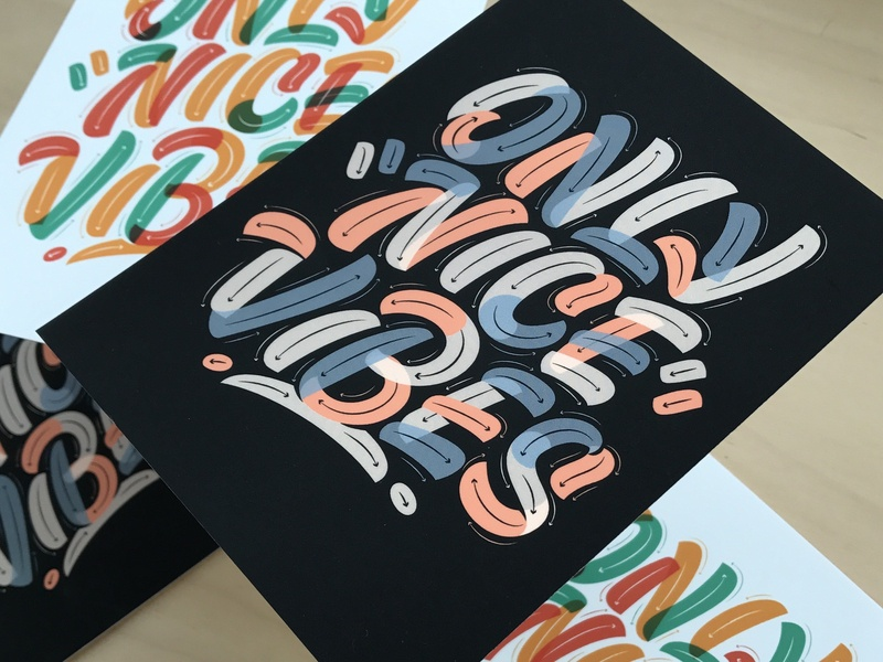 Only Nice Vibes Prints pencil pushers lettering ink thanks preorder postcards prints vibes nice