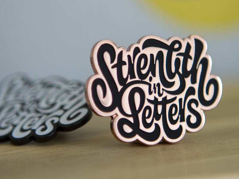 Strength in Letters Pins copper matte black enamel limited edition goods strength in letters pin game pins