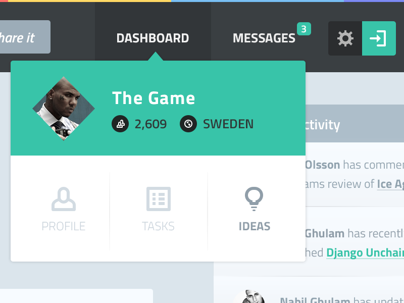 Dashboard Dropdown (flat) flat ui the game dropdown followers