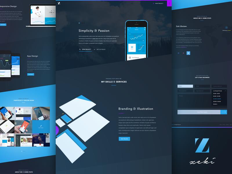 New Freelancer Portfolio ui ux ios8 responsive flat dark ui dark forms mockups portfolio one page landing page