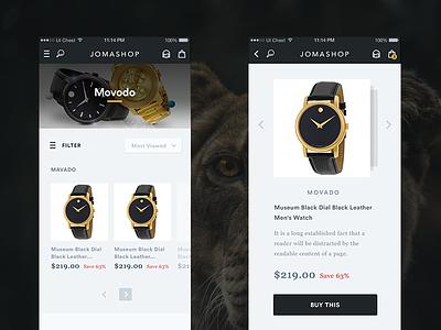 App Screens // Full Pixels menu shop clock e-commerce ux ui iphone iphone6 ios