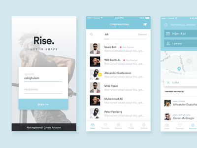 Couple of screens clean design interactive listings iphone mockup mobile interface discover login profile simplicity user experience ux ui