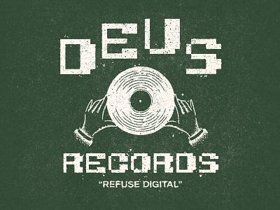 Refuse Digital stipple analog digital texture vinyl records vinyl deus ex machina deus records tshirt design tee tshirt graphic design logotype logo type illustrator illustration typography