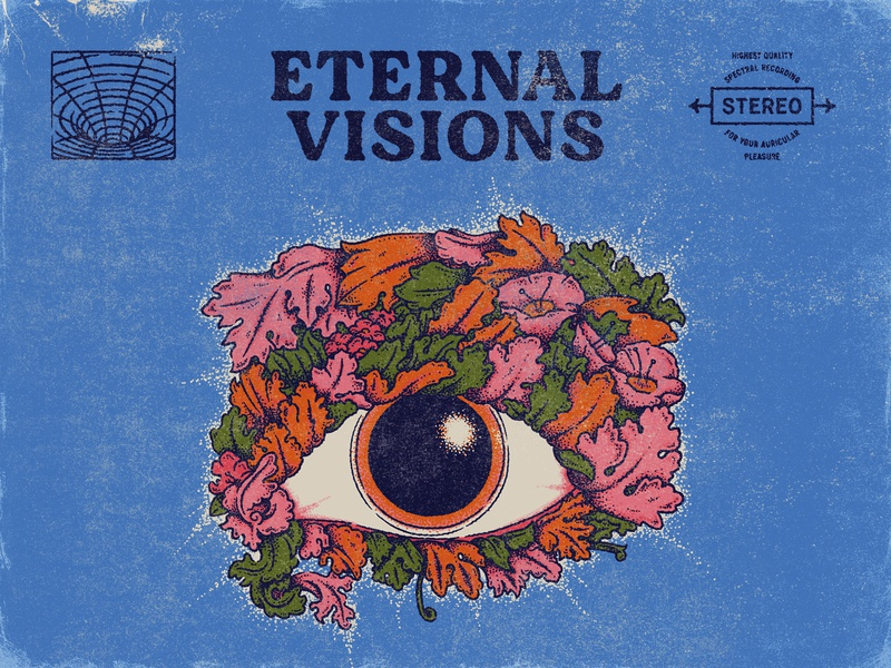 Eternal Visions 1960 psychadelic record cover psychadelic art psychedelic truegrit texture mike mainieri type layout true grit texture supply type lockup wordmark vinyl cover vinyl record graphic design handlettering type illustrator lettering illustration typography