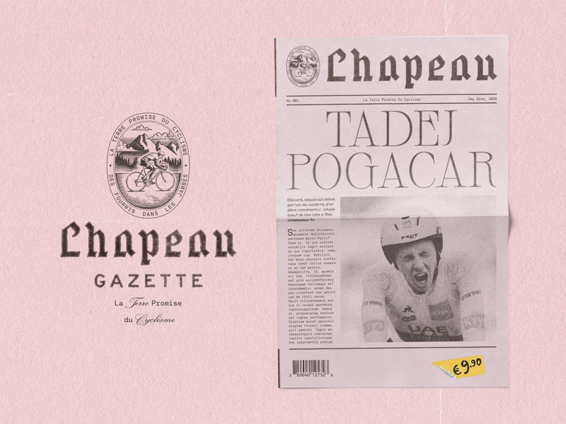 The Chapeau Gazette No001 - Tadej Pogacar faux branding type lockup gazette chapeau yellow jersey tadej pogacar le tour de france blackletter masthead newspaper wordmark brand identity graphic design logotype logo type illustrator branding illustration typography