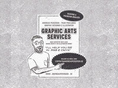 Graphic Art Services self portrait malice stencil mid century illustration mid century retro ad vintage ad ad design brand identity graphic design type illustrator branding illustration typography