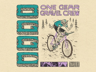 One Gear Gravel Crew outdoor illustration outdoors badger bike gravel bike tracklocross fixed gear wordmark logotype logo handlettering type illustrator lettering illustration typography