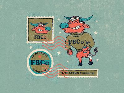 FBCo water buffalo postage stamps stamp mascot logo mascot beer brewery beer branding beer brand identity brand design graphic design logotype logo handlettering type illustrator lettering branding illustration typography