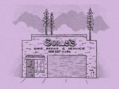 Surly's Bikeshop building identity brick and mortar signage design bike surly bikeshop building signage sign facade lettering brand identity handlettering type illustrator lettering branding illustration typography