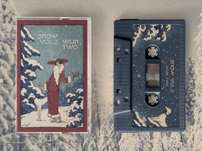Snow Cassette art deco illustration art deco type snow wun two lofi hiphop cassette tape album illustration album design illustration art wordmark graphic design type illustrator lettering illustration typography