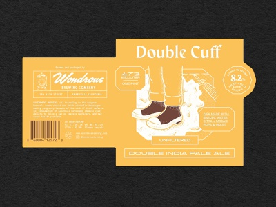 The Double Cuff Label graphic design emeryville wondrous brewing co brown rubber boots double cuff double india pale ale dipa beer branding beer label design beer label design type illustrator branding illustration typography