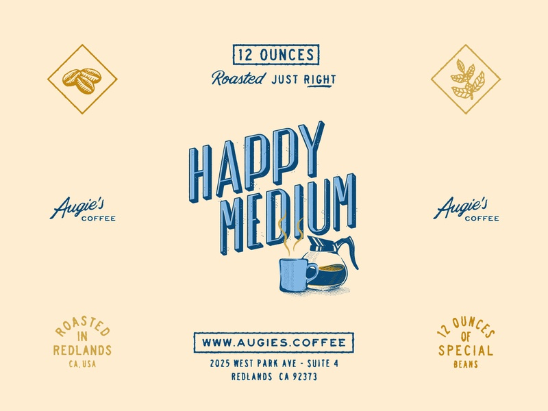 Happy Elements of Happy Medium augies coffee coffee packaging coffee roaster coffeeshop coffee packaging design packaging branding design brand identity wordmark graphic design logotype logo branding handlettering lettering illustration typography