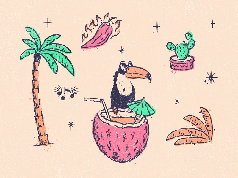 Tranquilo Thursdays - Illustrations illustrative branding illustration language illustration design branding elements coconut chili toucan cactus palm tree tranquilo south america south american restaurant branding illustrator illustration