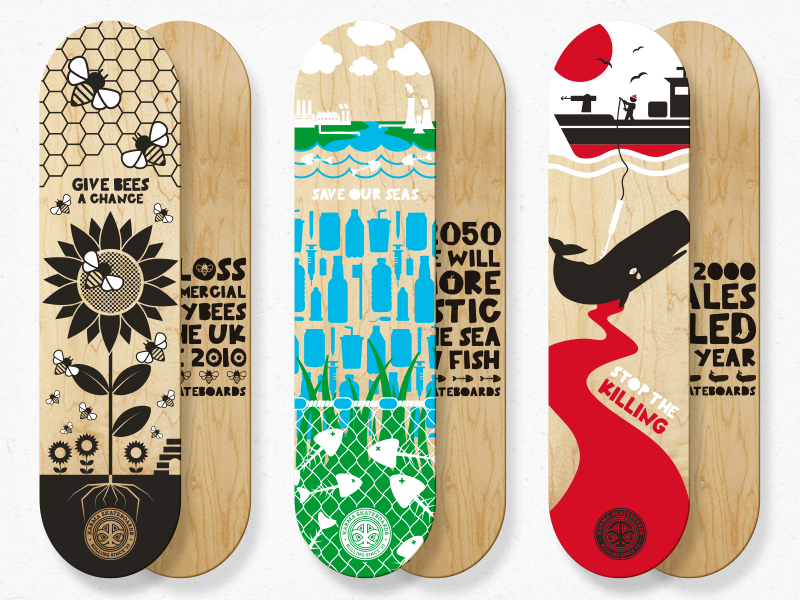 Karma Skateboards - Skate for the Planet give bees a chance surfers against sewage sea shepherd icons skateboarding bees whales nature environmental skateboard vector illustration