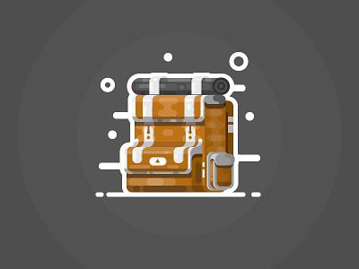Backpack icon camp traveling journey adventure hiking backpack carrier ransel rucksack bag