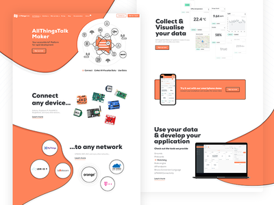 AllThingsTalk Maker Landing Page developers software saas connectivity networks arduino raspberry pi devices creative design platform uiux visualize data orange things internet of things iot website landing page