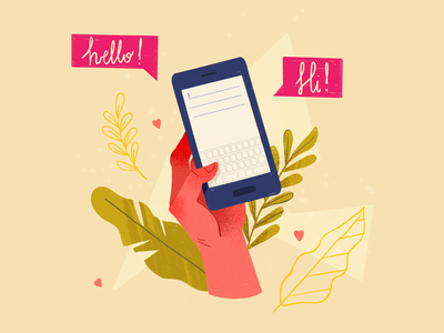 contact app illustration contact us email mail hand hello phone illustrator contact