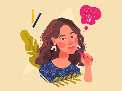 about me design idea pencils woman branding portrait girl illustration web illustration about me