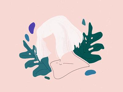 plant girl leaf plants monstera portrait girl illustration