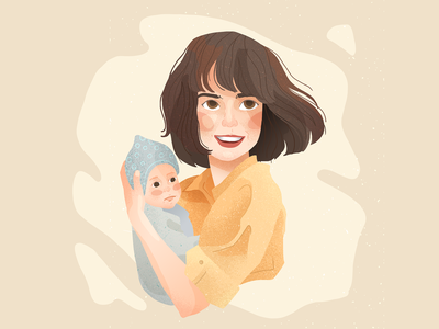 mother with child child woman family portrait baby mother illustration