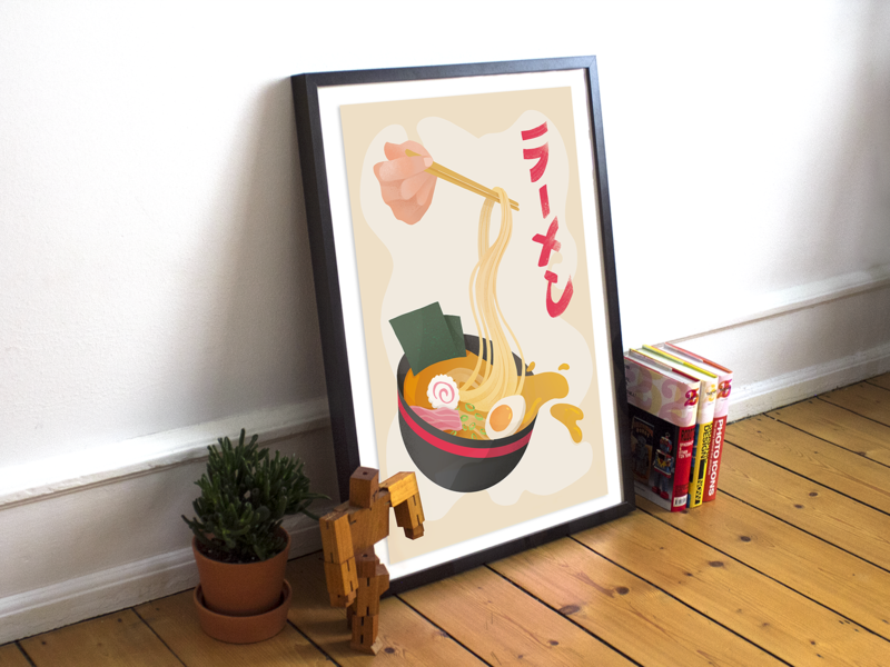 poster for ramen lovers home decoration illustraion soup food japanese food japanese ramen poster