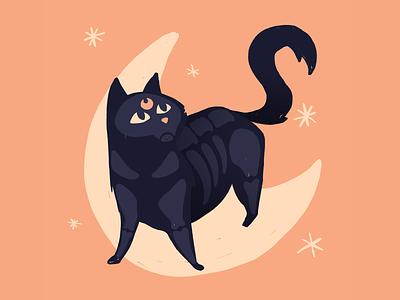 Black Cat #Inktober 7/31 kitty stars moon inktober halloween sailor moon luna salem black cat cat illustration