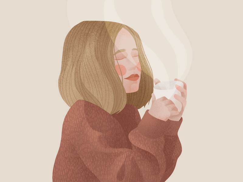 Cold days texture noise flat hot winter sweather cold autumn coffee tea girl illustration