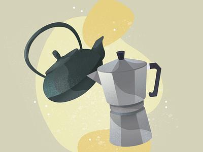 coffee or tea ? texture noise flat icon drinks tea coffee illustration