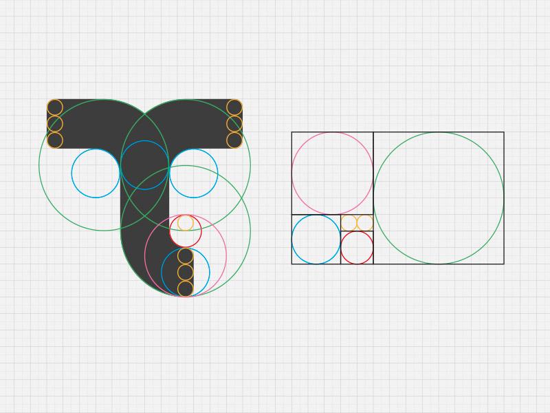 T logo construct fibonacci