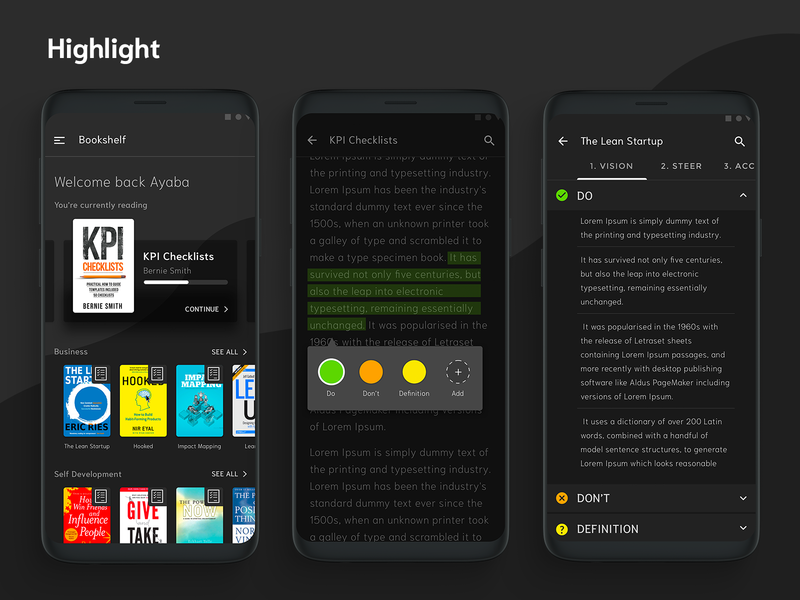 Highlight : eBook Reader by Colbys on Dribbble
