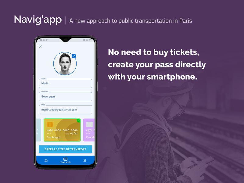 [UXC5] Navig'app : Create a pass mobile nfc pass ticketing subway paris public transportation app concept experience concept app card app ui ux android