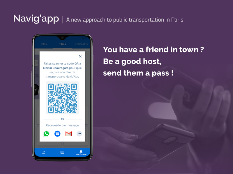 [UXC5] Navig'app : Send a pass subway paris navigo transportation design public transportation transportation mobile app concept experience concept app card design app ui ux android