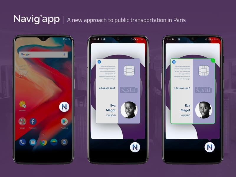 [UXC5] Navig'app : Floating Widget subway smart floating action button widget floating pass nfc navigo public transportation paris mobile app concept experience concept app card design ui app ux android