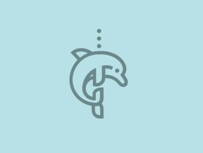Dolphin Icon branding newglue blue animal creative illustrator vector graphic logo icon illustration logo mark design