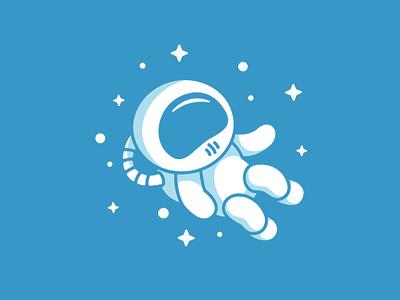 Cartoon Astronaut Icon branding newglue stars space cartoon astronaut blue creative illustrator vector graphic logo illustration icon logo mark design