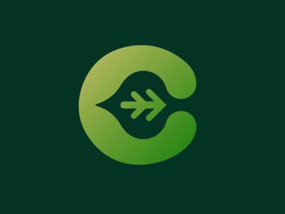 Leaf in C Icon leaf green letter branding newglue creative illustrator vector graphic logo illustration icon logo mark design
